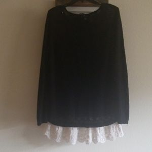 Black Sweater with lace trim